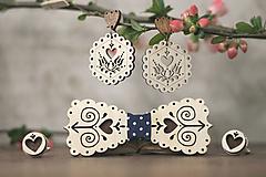Sady šperkov - Motýlik Čičmanec + manžetové gombíky + náušnice - 10633011_