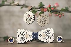 Sady šperkov - Motýlik Čičmanec + manžetové gombíky + náušnice - 10633020_