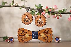Sady šperkov - Motýlik Čičmanec + manžetové gombíky + náušnice - 10633087_