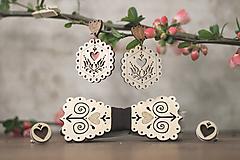 Sady šperkov - Motýlik Čičmanec + manžetové gombíky + náušnice - 10633159_