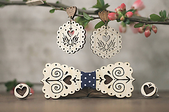 Sady šperkov - Motýlik Čičmanec + manžetové gombíky + náušnice (Modré bodky + manžety hnedé) - 10633011_