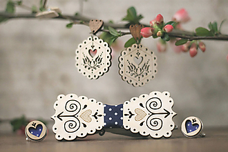 Sady šperkov - Motýlik Čičmanec + manžetové gombíky + náušnice (Modrý bodkový + manžety modré bodky) - 10633020_