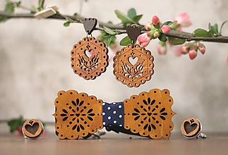Sady šperkov - Motýlik Medový kvet  (Modré bodky + manžety hnedé) - 10633067_