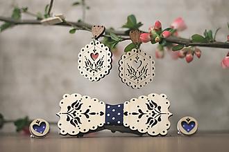 Sady šperkov - Motýlik Tulipán (Modrý bodkový + manžety modré bodky) - 10633124_