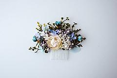 Ozdoby do vlasov - Béžový kvetinový hrebienok - 10632403_