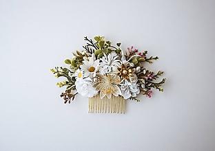 Ozdoby do vlasov - Biely kvetinový hrebienok - 10632384_