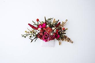 Ozdoby do vlasov - Červený kvetinový hrebienok - 10632386_