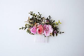 Ozdoby do vlasov - Ružový kvetinový hrebienok - 10632388_