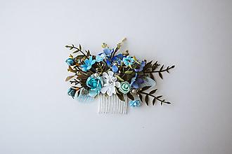 Ozdoby do vlasov - Modrý kvetinový hrebienok - 10632392_