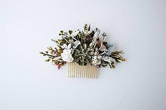 Ozdoby do vlasov - Prírodný hrebienok s kaktusom - 10632395_