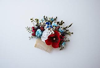 Ozdoby do vlasov - Folklórny kvetinový hrebienok - 10632396_