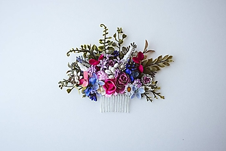 Ozdoby do vlasov - Ružový kvetinový hrebienok - 10632399_