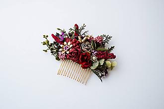 Ozdoby do vlasov - Bordový kvetinový hrebienok - 10632401_