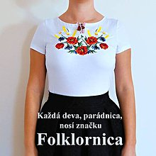 Tričká - Folklórne dámske tričko , vyšívané , s výšivkou , folk, ľudové - 10635502_