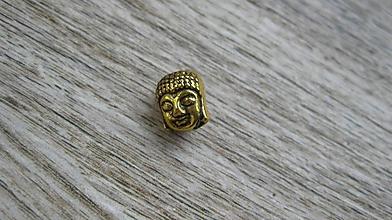 Korálky - Kovová korálka hlava Budha, farba zlatá, 1 ks - 10634031_