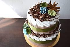 Detské doplnky - Plienková torta Sukulent - 10635938_