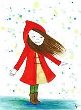Magnetky - Dievča v daždi - magnetka - 10634497_