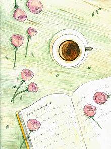 Magnetky - Káva a ruže - magnetka - 10634533_