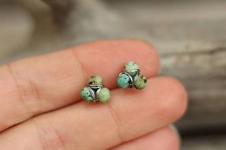 Náušnice - Drobné napichovačky z minerálu africký tyrkys - 10633546_