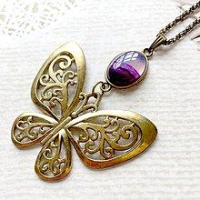 Náhrdelníky - Bronze Butterfly Violet Agate Necklace / Náhrdelník s motýľom a fialovým achátom /2084 - 10636517_