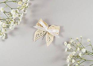 Pierka - Krémové bavlnené svadobné pierka - 10636412_