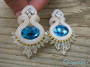 Náušnice - Beige/Turquoise...soutache - 10636775_