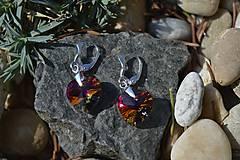 Náušnice - Strieborné náušnice Swarovski crystal vulcano