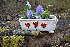 Nádoby - keramický kvetináč - tulipánový - 10637619_