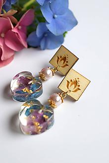 Náušnice - Náušnice Hortenzia srdiečka s perlami (2592 A CHO) - 10638459_