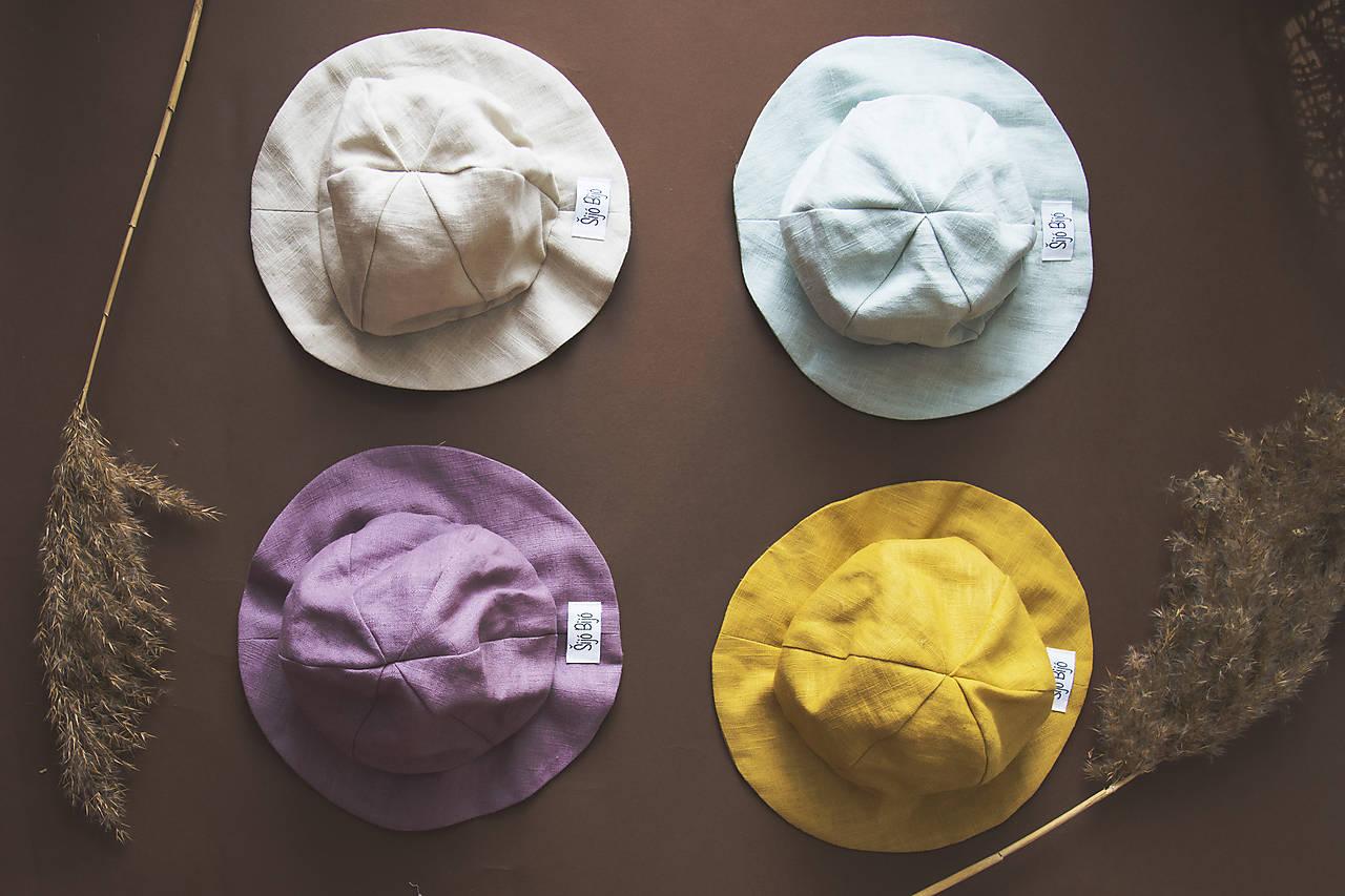 Detské čiapky - Klobúčiky SIMPLE (ľan) - 10636030_