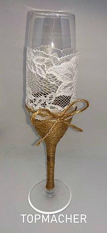 Nádoby - Jutové svadobné poháre II - 10638562_
