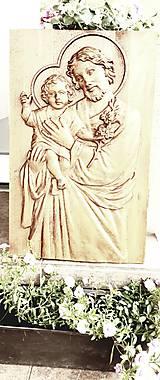Obrazy - Drevorezba Sv. Jozef a Ježiško (Buk farba) - 10636331_