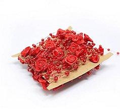 Galantéria - SP101 Stuha s perličkami a ružičkami  (Červená) - 10637946_