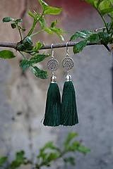 Náušnice - Smaragdové strapcové - 10637969_