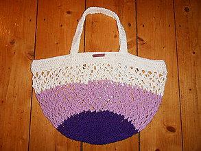 Nákupné tašky - Trendová háčkovaná bavlnená sieťovka - 10638297_
