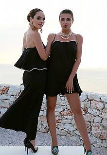 Šaty - Krátke šaty s čipkou čierne - 10638148_