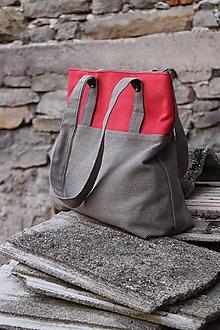 Veľké tašky - krémovo-červená belka - 10636396_