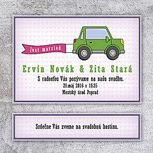 Papiernictvo - Svadobné oznámenie auto s okrajmi - 10637524_