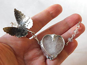 Náhrdelníky - Krištáľové srdce z kolekcie Butterfly,tiffany - 10639091_