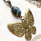 Náhrdelníky - Bronze Butterfly Labradorite Necklace / Náhrdelník s motýľom a labradoritom /2084 - 10638744_