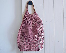 Veľké tašky - Sieťka s koženými rúčkami