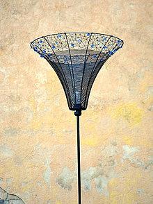 Svietidlá a sviečky - Safírová. Drátovaná lampa. - 10640513_