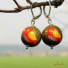 Náušnice - Ptáčci - žlutočervení - 10640259_