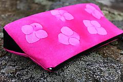 Taštičky - Růžová taštička s květy hortenzie - 10639317_