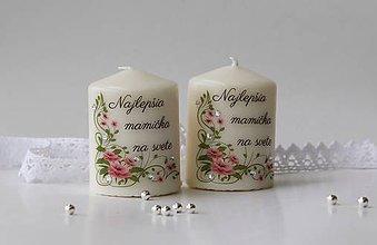 Svietidlá a sviečky - Duo dekoračných sviečok pre mamičku - 10639185_