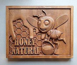 Grafika - Drevorezba reklama na bránu Domáci včelí med - 10639782_