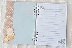 Papiernictvo - Zápisník pre bábätko / chlapčeka (bodkovaný) - 10639217_