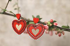 Náušnice - Čipkovance srdce (Červená) - 10639556_