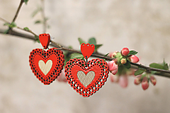 Náušnice - Čipkovance srdce - 10639556_
