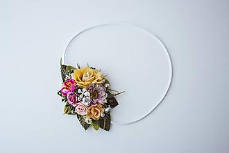 Ozdoby do vlasov - Elastická čelenka s kvetinami - VÝPREDAJ - 10639221_